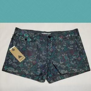 Burton Black Chambray Floral Print Shorts
